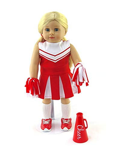 Red heerleader Outfit Cheerleading Uniform with Dress, Bloomers, Poms, Megaphone, Socks, and Shoes | Fits 18