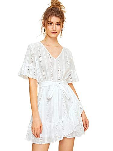Romwe Women's Elegant Ruffle Trim Eyelet Embroidered V Neck Wrap Short Dress ##White L