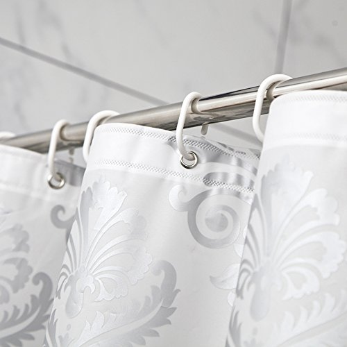 Uphome 72 x 78 inch damask silver grey flower pattern for Grey silver bathroom accessories