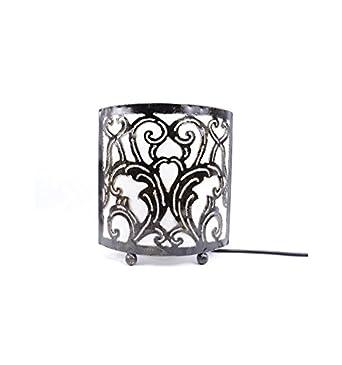 Lampe De Chevet Style Marocain Oriental Fer Forge Tissu Blanc