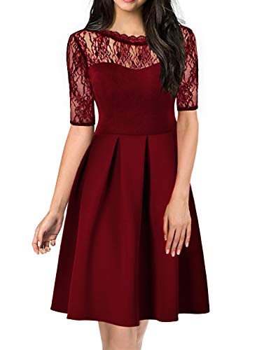Women's Lace Floral Cocktail Party Retro Casual Swing Evening Dress Knee-Length Ladies Wear to Work A Line Business Dresses 156 (M, Red Wine)