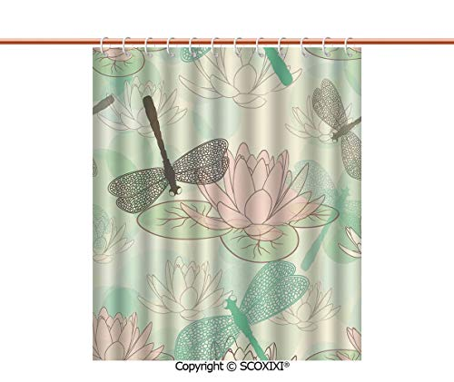 SCOXIXI Shower Curtain,Unique,Floating Water Lily and Dragonfly Figures on The Lake in Soft Color Design Print,W78.7XL72 -