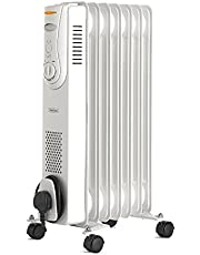VonHaus Oil Filled Radiator 1.5KW 7 Fin – Portable Electric Heater – 3 Power Settings, Adjustable Temperature & Tip Over Safety Switch – White 1500W