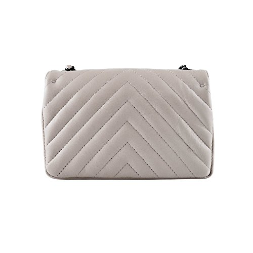 leather chevron Small cross Italian purse metal shoulder smooth Nickel Grey leather clutch and quilted soft SINDY body quilted Dark chain 1zOwnqF