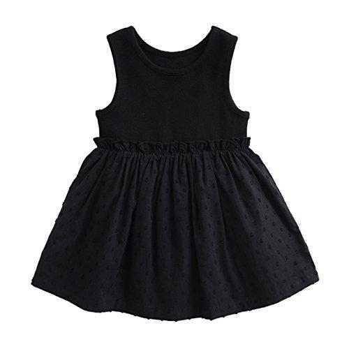 marc janie Girls Black Dots Sundress Baby Girls Sleeveless Dress 12 Months Carbon Black