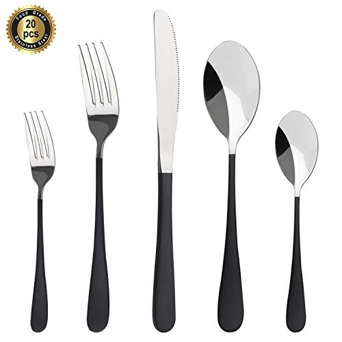 HF HOFTEN Silverware Set, Black20 Piece Food Grade Stainless Steel Flatware Set Include Fork Spoon Knife Utensils for Daily Use and Party, Service for 4, Anti Rust, Safe in Dishwasher (HD822PS-04)