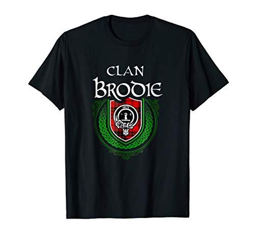 Brodie Surname Scottish Clan Tartan Crest Badge T-shirt ()