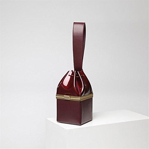 Bolso de Cuero del Bolso de la Patente del Oro de la Mujer Bolso de Noche Bolso de la Mini Bolso de Cuero del Bolso Cuadrado Pequeño (Color : Rojo) Burgundy