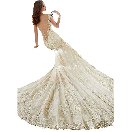 DingDingMail Tulle V-Neck Backless Mermaid Wedding Dress for Bride Long Court Train Appliques Lace Wedding Dresses(Ivory 12)