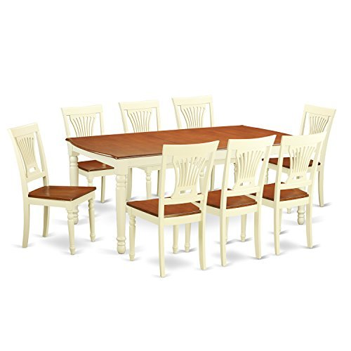 East West Furniture DOPL9-WHI-W 9 Piece Dining Room Table and 8 Kitchen Chairs