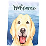 Golden Retriever Welcome Garden Flag; 12 inches by 18 inches; Double Sided Reads Correctly Both Sides