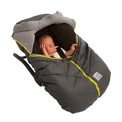 7AM Enfant Car Seat Cocoon, Wind and Water Resistant, Versatile, On-the-Go and Elasticized Car Seat Cover Micro-Fleece Lined (Grey, One Size 0-12 (Fleece Car Seat Stroller Blanket)