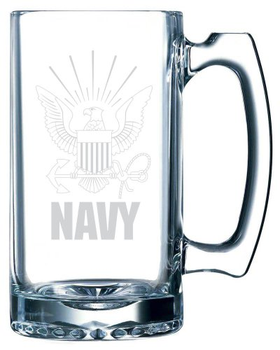United States Navy Etched 25oz Libbey Sports Beer Mug