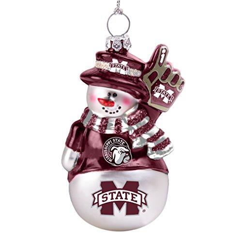 NCAA Mississippi State Bulldogs Glitter Snowman Ornament
