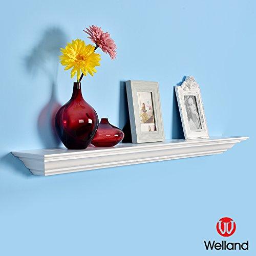[WELLAND Corona Crown Molding Floating Wall Photo Ledge Shelves Fireplace Mantel Shelf (36-Inch, White)] (Traditional Mantel)