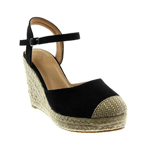 Angkorly Women's Fashion Shoes Sandals Espadrilles - Ankle Strap - Platform - Cord - Braided - Thong Wedge Platform 10 cm Black