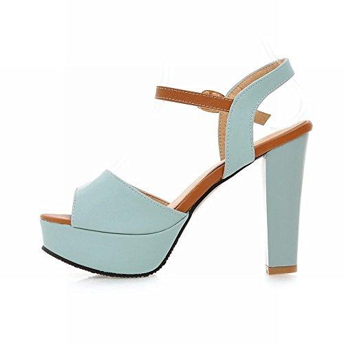 Carolbar Vrouwen Gesp Mode Zoete Elegantie Peep-toe Platform Hoge Dikke Hak Sandalen Blauw