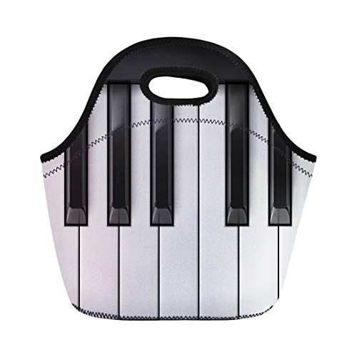 Semtomn Lunch Tote Bag Band Raster Piano Keys Cool for Creative Color Luxury Reusable Neoprene Insulated Thermal Outdoor Picnic Lunchbox for Men Women ()
