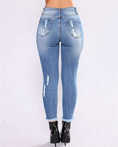 Vaqueros Azul Cintura Ocio Elasticidad Fit Alta Slim Jeans Pantalones Largos Oscuro Flaco Rasgados Lápiz Pantalones Mujer wn6XxCw