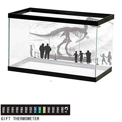 (bybyhome Fish Tank Backdrop Dinosaur,People Look at T-Rex,Aquarium Background,48