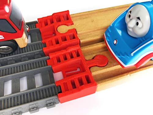(TrainLab Track Adapters Compatible with Trackmaster (2014+) to Wooden Railway Train Tracks (2pc) (Red))
