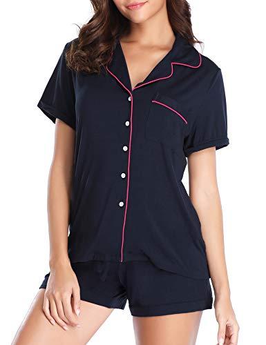 Lusofie Pajamas Set for Women Short Sleeve Sleepwear Notch Collar Loungewear (Navy Blue,S)