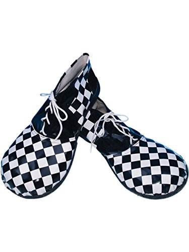 Checkered Clown Shoes, Black / White, One Size