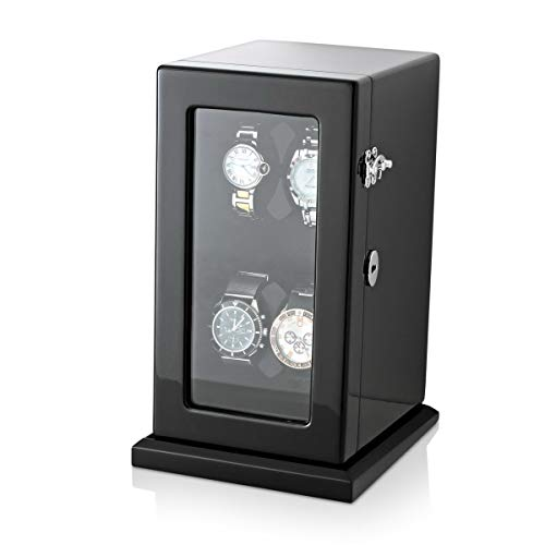 - Watch Winder for 4 Watches with Led Backlihght and Battery Power Option (Black)