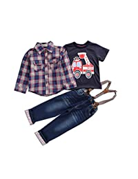SIUONI 3Pcs Toddler Baby Boys Clothing Set Outwear Gentleman Plaid Jacket Shirt Suspender Trousers Formal Clothes Sets