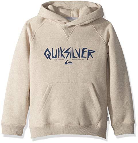 Quiksilver Boys' Big Rough Type Hoodie Zip Youth Fleece, Birch Heather, L/14 (Boys Sweater Quiksilver Kids)