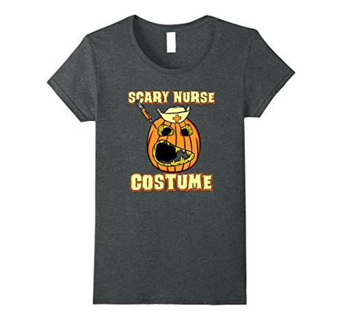 T Pain Halloween Costumes (Womens Scary Face Halloween Pumpkin Nurse Costume T-shirt Kids XL Dark Heather)
