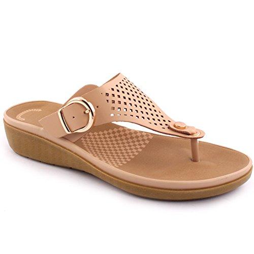 Unze New Women 'Terrence' Toe Post Verano Beach Party Reunirse School Carnival Zapatos planos casuales de deslizadores UK Tamaño 3-8 Beige