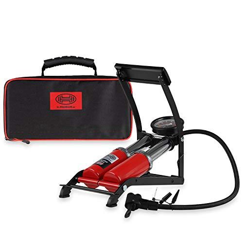 HEYNER® 22500N voetluchtpomp dubbele cilinder 2 cilinder met manometer tot 10 bar + tas