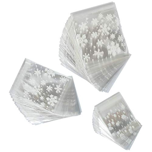 Elcoho 300 Pieces Christmas Snowflake Cookie Treat Bags Candy Bags Cellophane Plastic Cookie Bakery Candy Treat Gift Bags for Party Gift Supplies