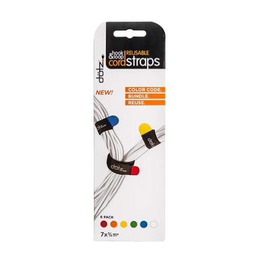 Dotz Reusable Hook & Loop Cord Straps, 6 Count