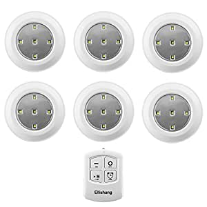 Puck Lights With Remote Control Ellishang 6 Pack Led Tap Lights Battery Powered Wireless Night Lights Kitchen Under Cabinet Lighting Stick On