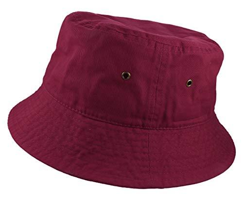 (Gelante 100% Cotton Packable Fishing Hunting Sunmmer Travel Bucket Cap Hat 1900-Burgundy-L/XL)