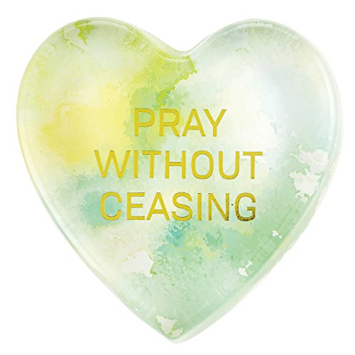 CB Gift Heartfelt Heart-Shaped Glass Watercolor Paperweight, Pray Without Ceasing
