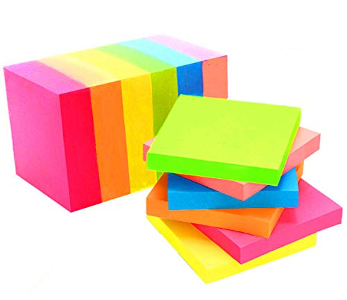 Sticky Notes 3 x 3 Inches 6 Bright Colors Self-Stick Notes Pads Tabs Easy Post