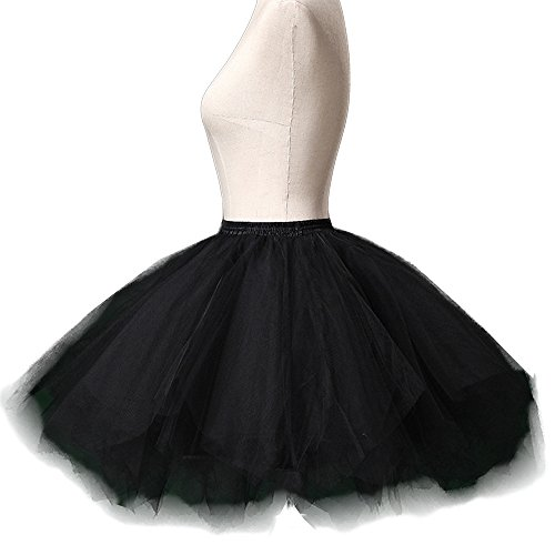 (Sheicon Women Tulle Tutu 50s Vintage Petticoat Skirt Ballet Bubble Party Skirt Color Black Size Plus)