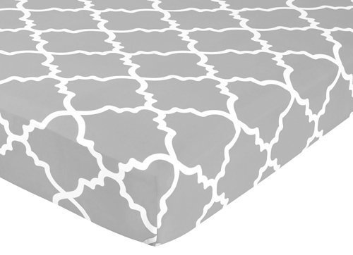 Sweet Jojo Designs Fitted Crib Sheet for Gray and White Trel
