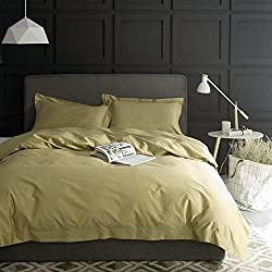 Solid Color Egyptian Cotton Duvet Cover Luxury Bedding Set High Thread Count Long Staple Sateen Weave Silky Soft Breathable Pima Quality Bed Linen (King, Lemon Lime)
