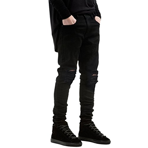 Mistere Handsome Men's Ripped Jeans Vintage Fitted Stretchy Tapered Leg Destroyed Jeans BlackTagsize30=USsize31 by Mistere Pants