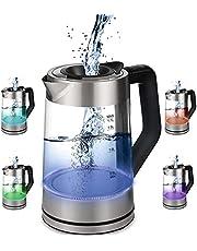 Glazen waterkoker, 1,7 liter, 2200 watt, roestvrij staal met temperatuurkeuze, theekoker, 100% BPA-vrij, warmhoudfunctie, led-verlichting in kleurverandering, temperatuurinstelling (50 tot 100 graden Celsius)