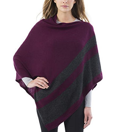 Celeste Ladies Colorblock Cashmere Blend Travel Wrap Poncho (Wine / Gray)