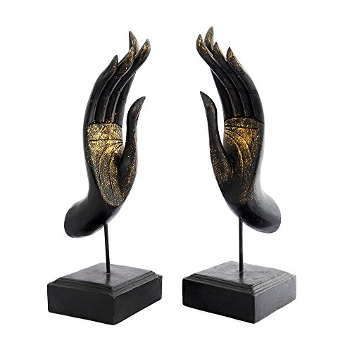 Siam Sawadee Pair of Handmade Buddha Mudra Hand Feng Shui Wooden hand painted Statue From Chiang Mai, Thailand by Siam Sawadee