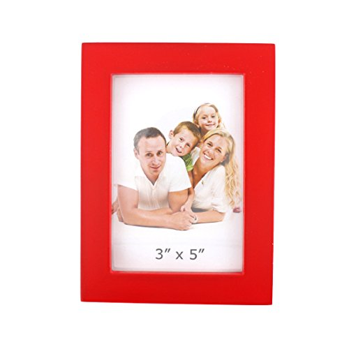 Classic Rectangular Wood Desktop Family Picture Photo Frame (Bright Red, (Bright Frame)