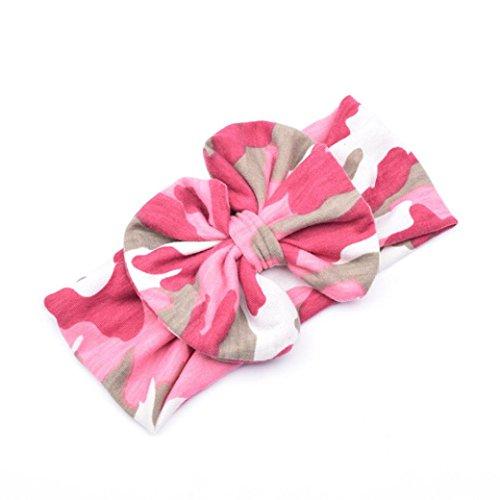 Ecosin Baby Kid Girl Camouflage Bowknot Hairband Turban