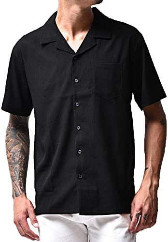 メンズ 半袖 シャツ 開襟シャツ オープンカラー 柄シャツ