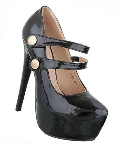 Damen Schuhe Pumps Plateau High Heels Stiletto Schwarz Schwarz